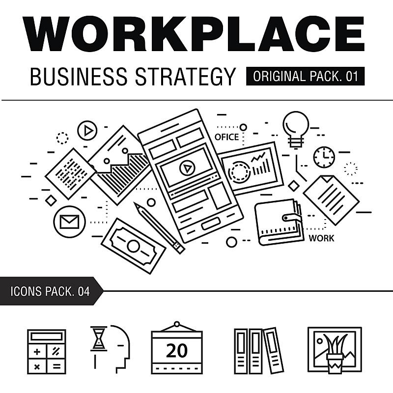 现代,商务策略,工作场所,巨蜥属,成一排,线条,数字取景器,咖啡杯,杯,策略