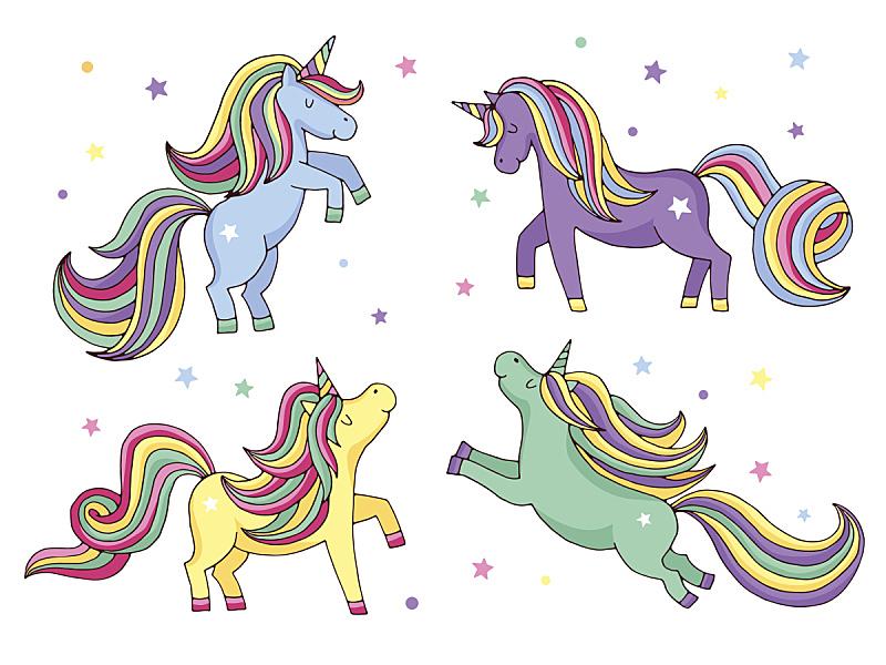 独角兽,绘画插图,卡通,矢量,幽默,白色背景,小马,彩虹,仙女,种马