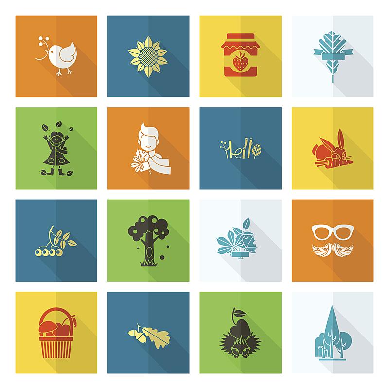 秋天,平坦的,符号,刺猬,橡树果,兔子,伞,葡萄酒,枝繁叶茂,绘画插图