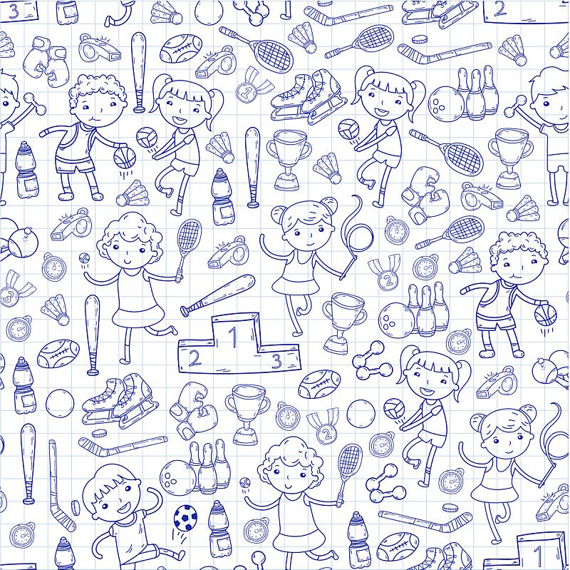 绘画插图,运动,女孩,瑜伽,橄榄球,滚轴曲棍球,网球运动,排球,篮球,进行中