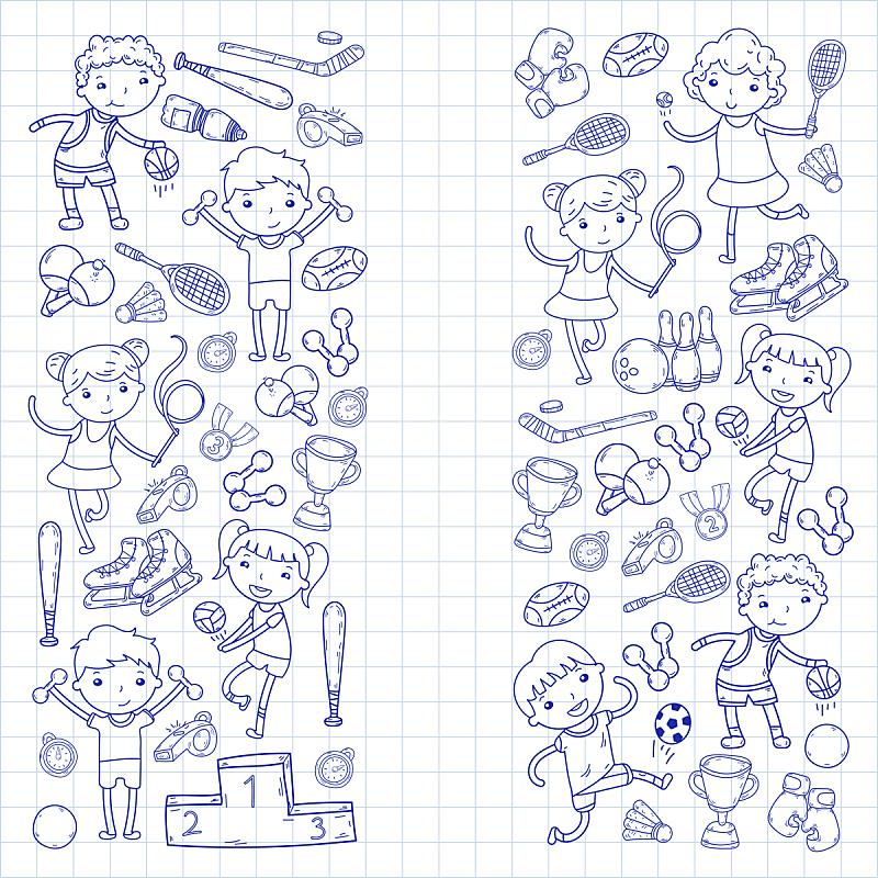 绘画插图,运动,女孩,瑜伽,橄榄球,网球运动,男孩,进行中,排球,滚轴曲棍球