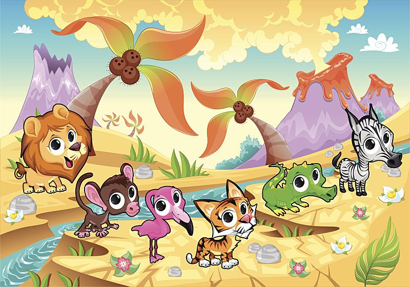 棕榈树,地形,火山,动物,火烈鸟,鳄鱼,动物手,拟人笑脸,斑马,绘画插图