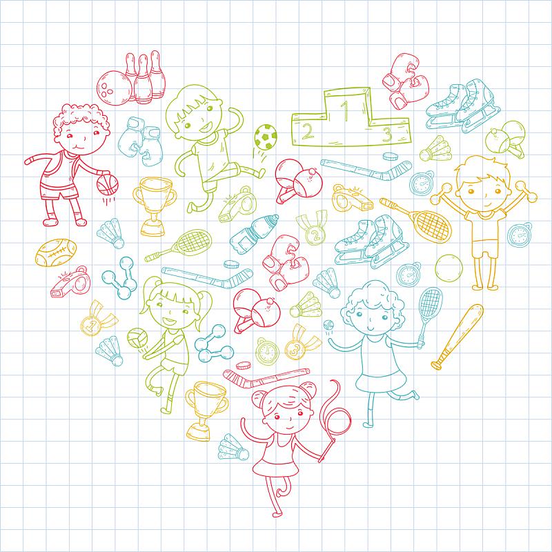 绘画插图,运动,女孩,瑜伽,橄榄球,滚轴曲棍球,网球运动,篮球,排球,进行中