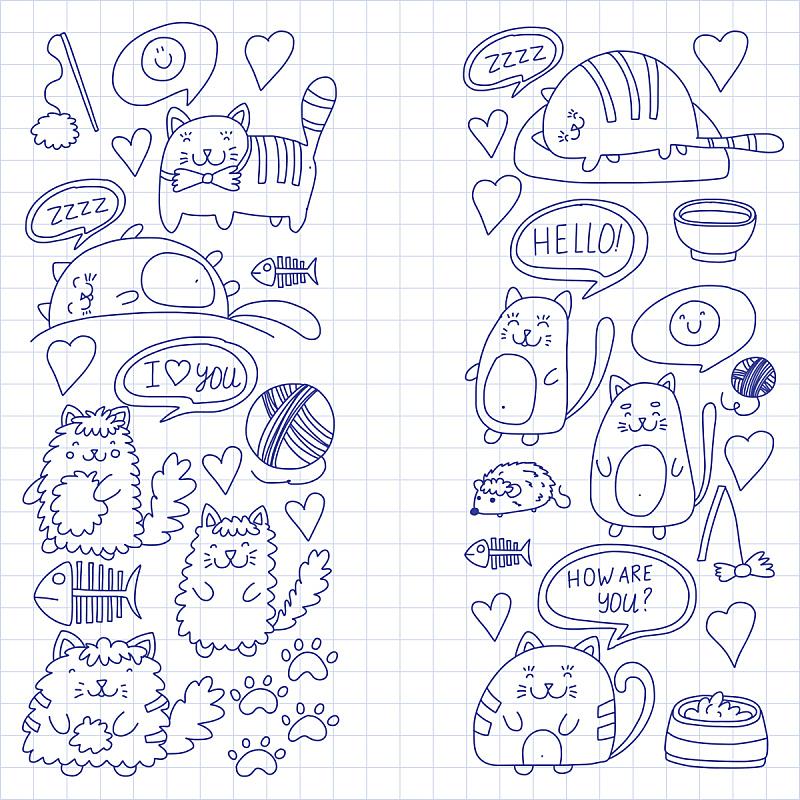 绘画插图,猫,小猫,乱画,可爱的,计算机图标,动物园,儿童画,未成年学生,儿童