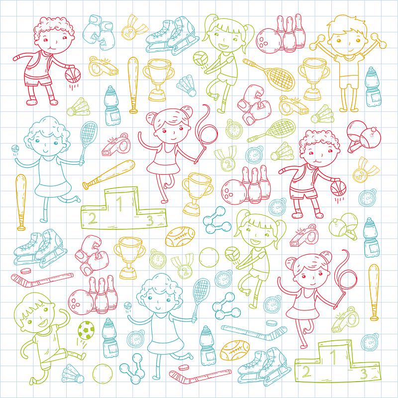 绘画插图,运动,女孩,瑜伽,橄榄球,滚轴曲棍球,网球运动,篮球运动,排球,进行中