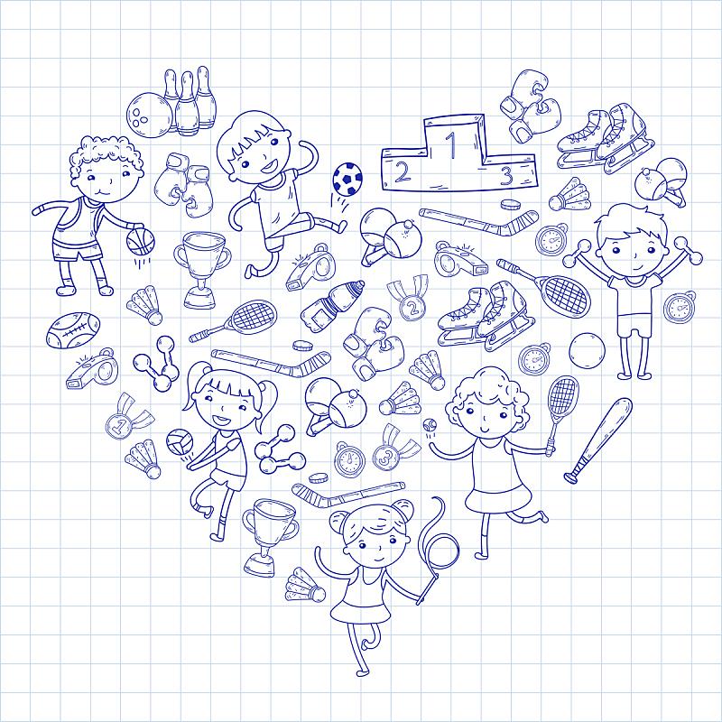 绘画插图,运动,女孩,瑜伽,橄榄球,进行中,男孩,排球,篮球,滚轴曲棍球