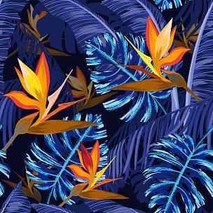 四方连续纹样,热带的花,蓝色,纺织品,夜晚,无人,绘画插图,热带雨林,夏天,棕榈树