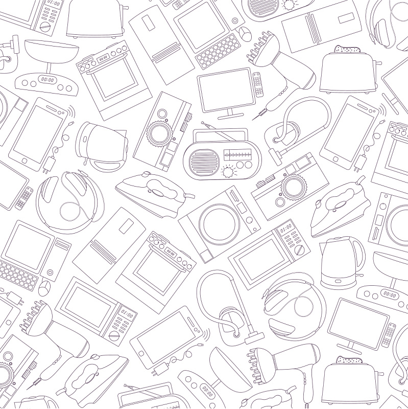 用具,矢量,式样,住宅内部,微波炉,真空吸尘器,电子商店,搅拌机,冰箱,垂直画幅