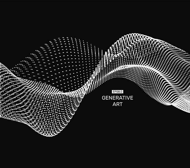 点连成线,格子,矢量,波形,背景,绘画插图,波纹,抽象,网,科技