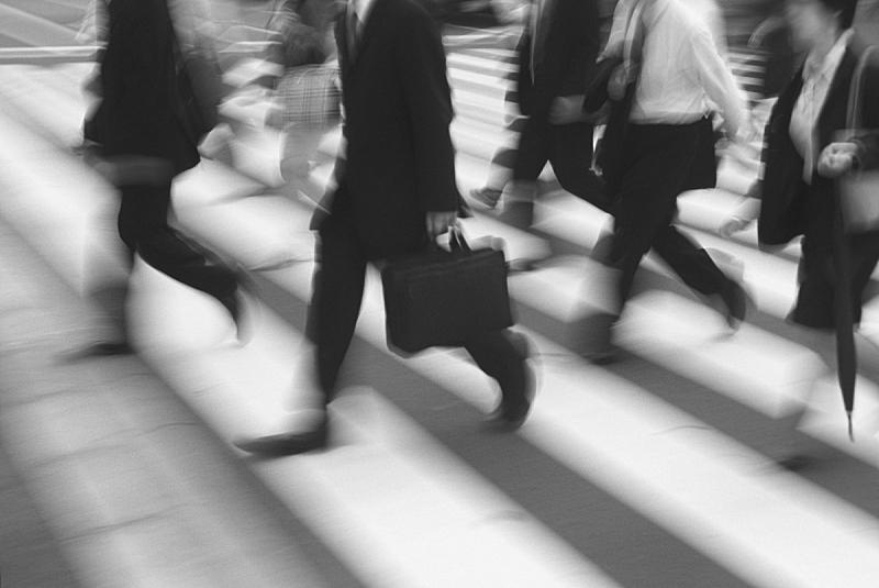 通勤者,城市,忙碌,生活方式,紧迫,黑白图片,人,斑马线,行人,工作