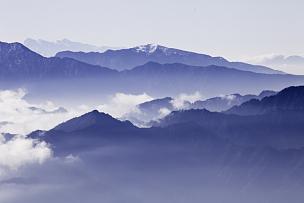 云,海洋,地形,山,山顶,背景,水,蓝色,禅宗