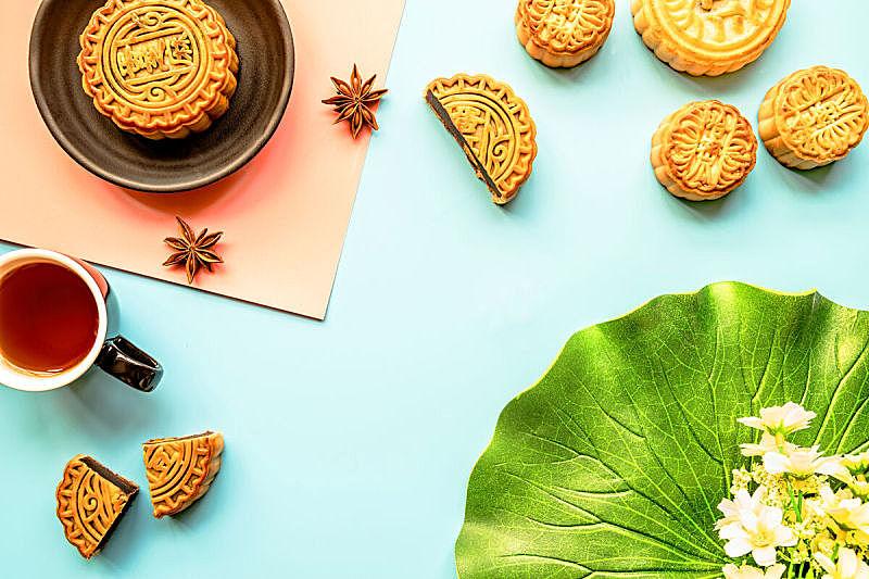 传统,茶,多色的,抽陀螺,平铺,背景,水平画幅,月亮,蛋糕,特写