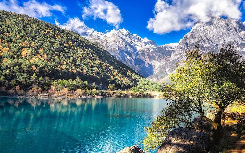 河流,风景,水,丽江,日光,蓝色,月亮谷,新月形,湍急的,挨着