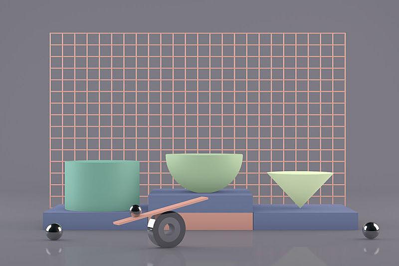 几何形状,空的,三维图形,抽象,极简构图,背景,概念,指挥台,留白,未来