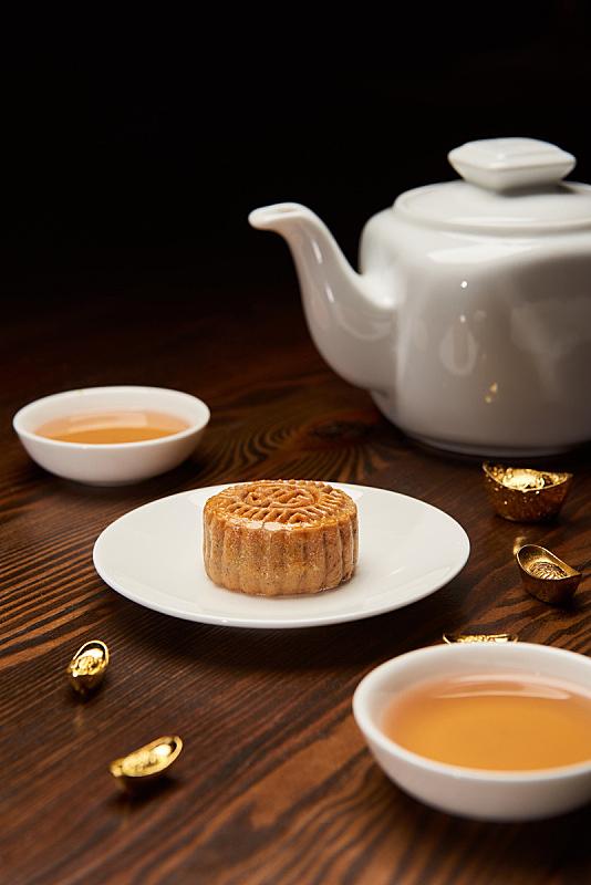 传统,黄金,分离着色,茶杯,黑色背景,锅,国内著名景点,事件,中秋节,杯