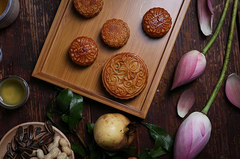 荷花,月饼,茶,传统,中秋节,蛋糕,食品,传统节日,坚果,甜点心