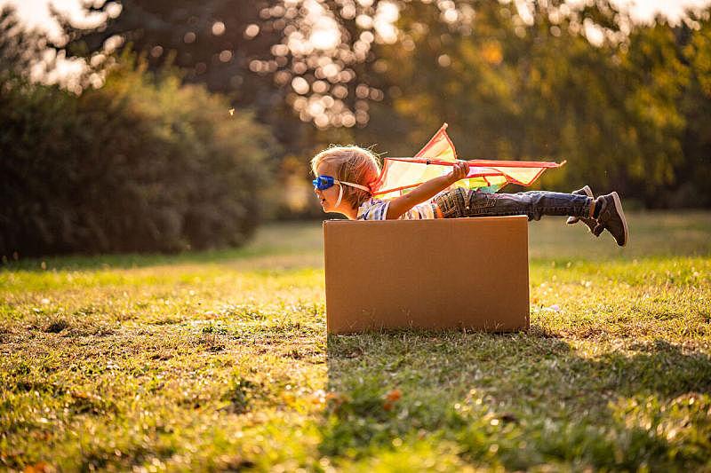 男孩,可爱的,侧面视角,小的,风筝,秋天,公园,草,儿童,草地
