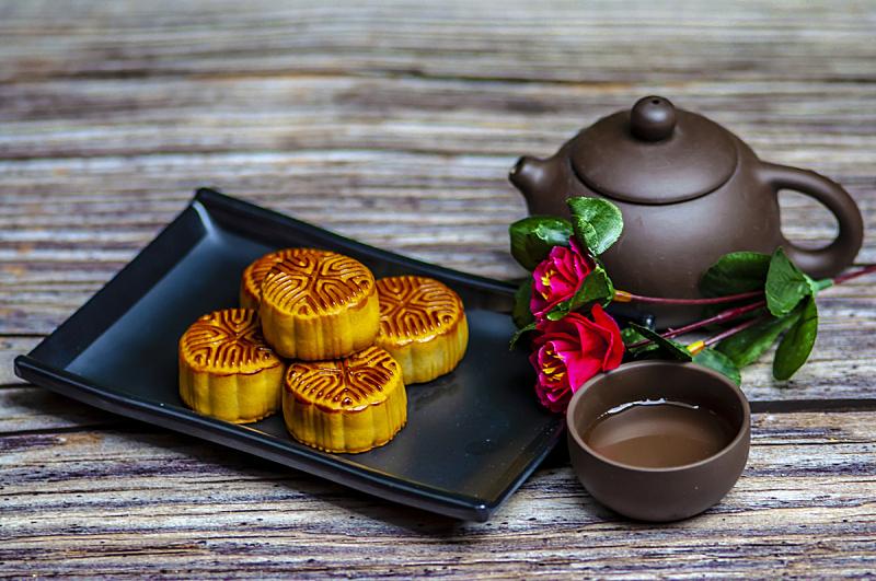 茶,静物,蛋糕,传统,中秋节,饮食,食品,图像,茶杯,月饼
