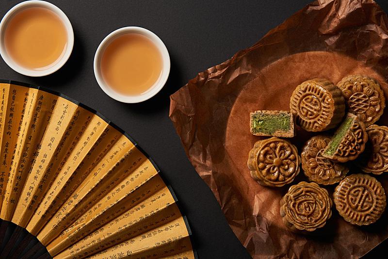 传统,扇子,茶,分离着色,黑色背景,国内著名景点,事件,季节,春节,中秋节