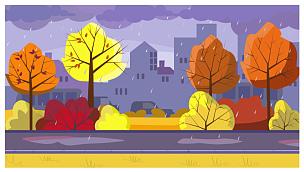 绘画插图,雨,多色的,在下面,湿,城市生活,沥青,暗色,环境,树