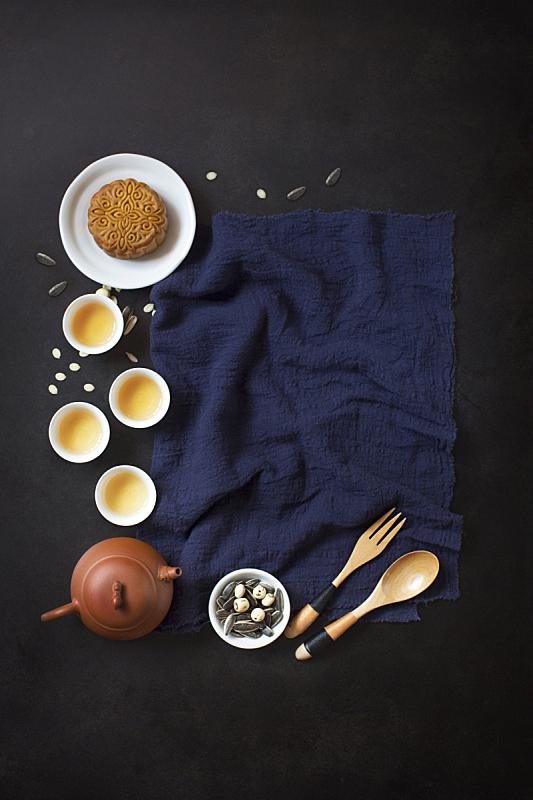 纺织品,传统节日,秋天,食品,中间,组物体,饮料,茶,偏好,中秋节