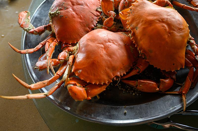 特写,餐盘,螃蟹,热,香料,食品,蒸菜,煮食,宴会,餐具