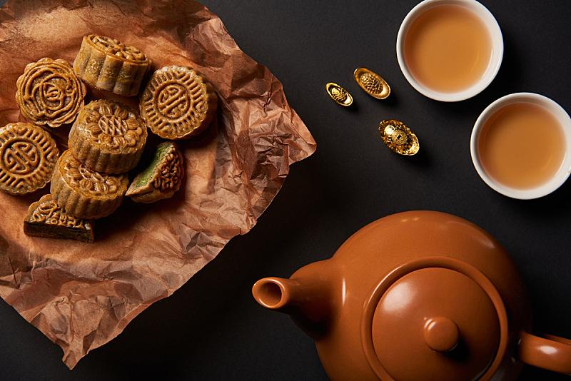 茶壶,黑色背景,分离着色,黄金,传统,国内著名景点,事件,季节,中秋节,杯