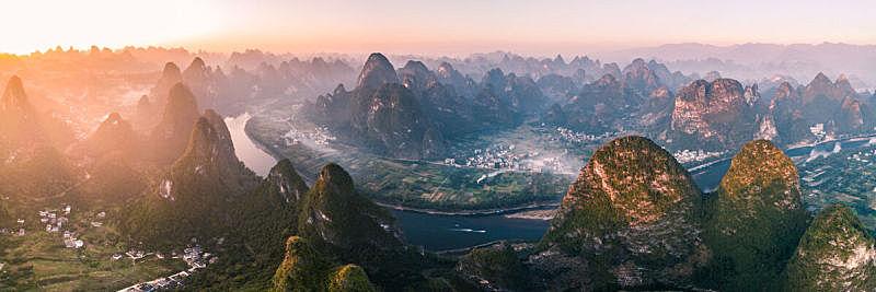 广西壮族自治区,风景,桂林,峡谷,山,航拍视角,乡村,非凡的,喀斯特,农业