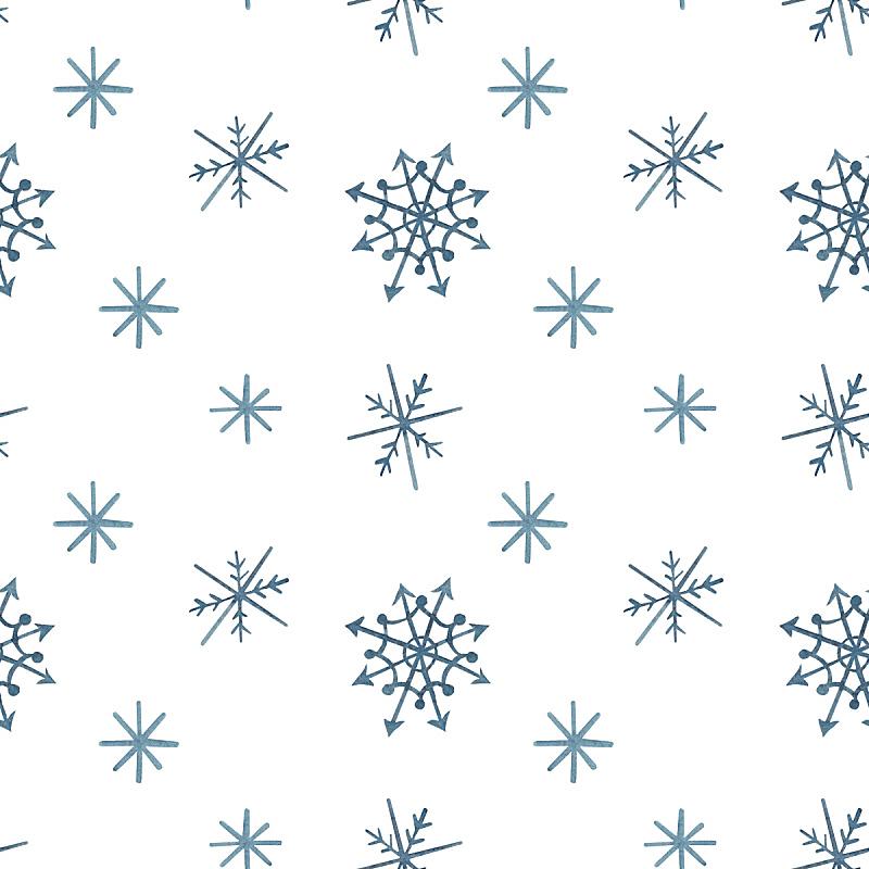 白色,雪花,式样,蓝色,水彩画,传统,寒冷,水彩画颜料,纺织品