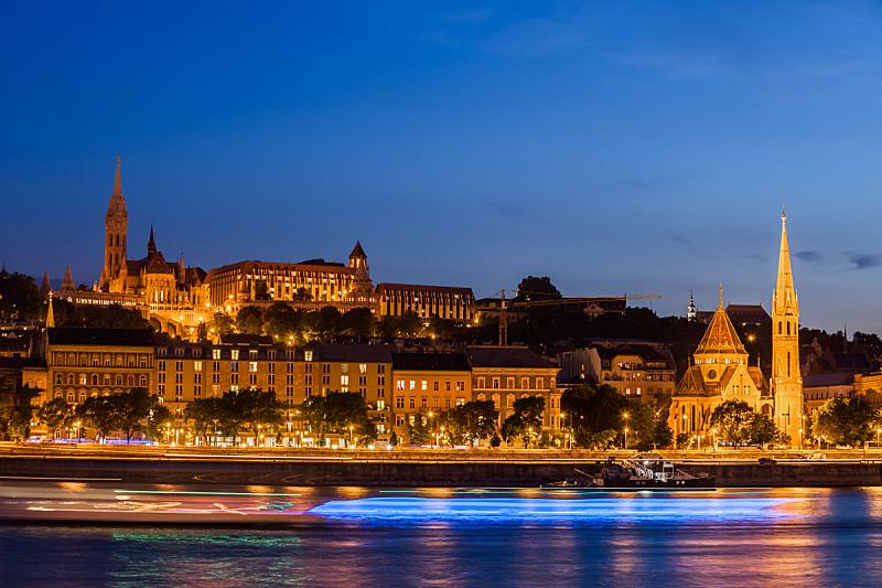 布达佩斯,城市,夜晚,多瑙河,国际著名景点,国内著名景点,匈牙利,曙暮光,黄昏,光轨