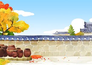 风景,传统,房屋,插画,韩屋,彩色铅笔,建筑,户外,秋天,黄色