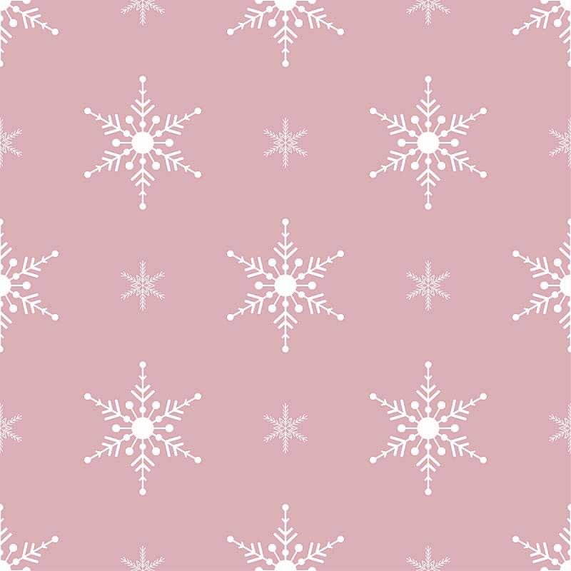四方连续纹样,绘画插图,白色,雪花,粉色背景,矢量,传统,2020,贺卡