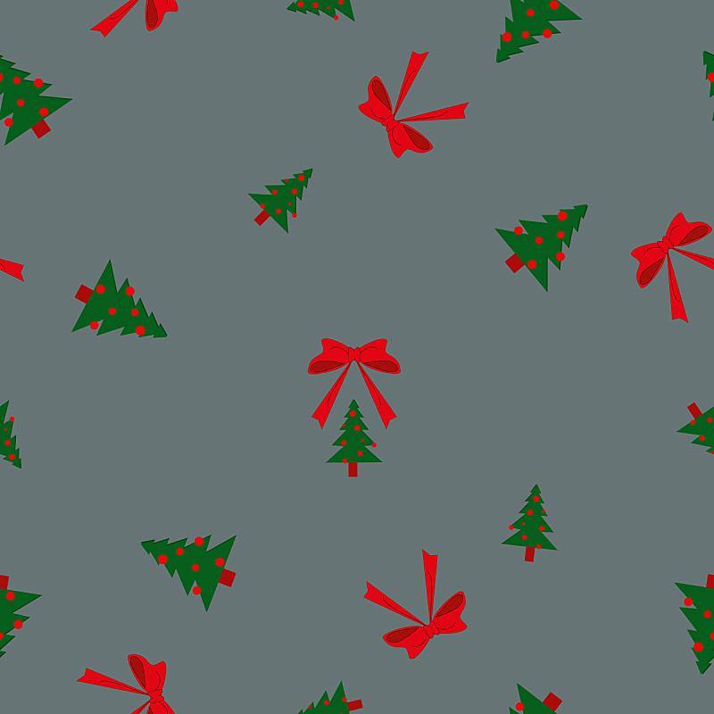 球,蝴蝶结,灰色,圣诞树,式样,贺卡,纺织品,雪,绘画插图,冬天