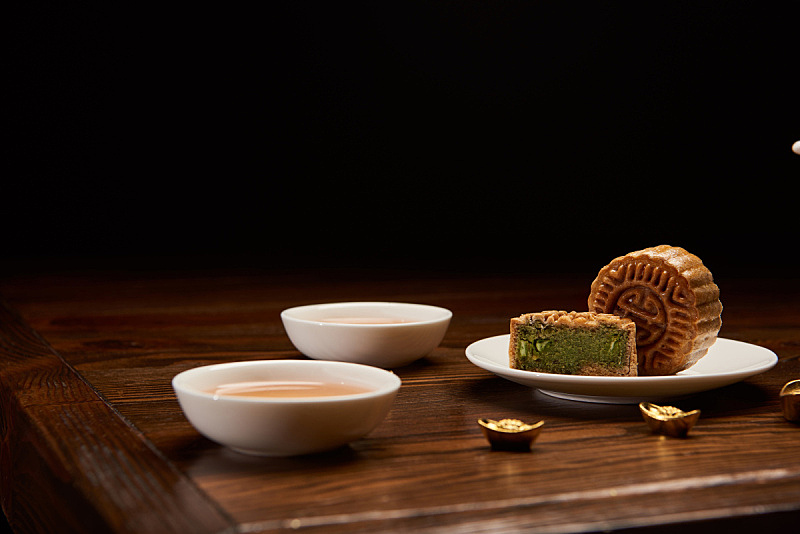 传统,黄金,黑色背景,分离着色,茶杯,事件,春节,中秋节,杯,铸锭