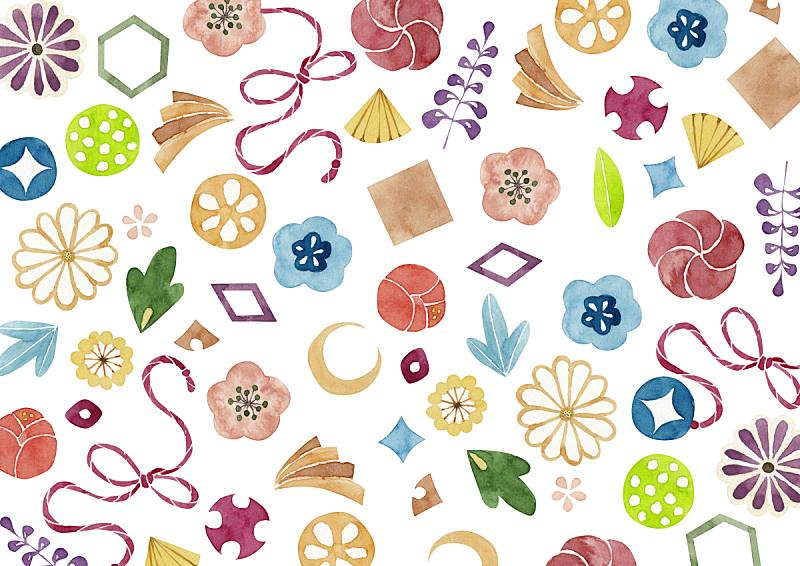 传统,日本,式样,华丽的,水彩画颜料,几何形状,复古风格,古典式,植物,背景