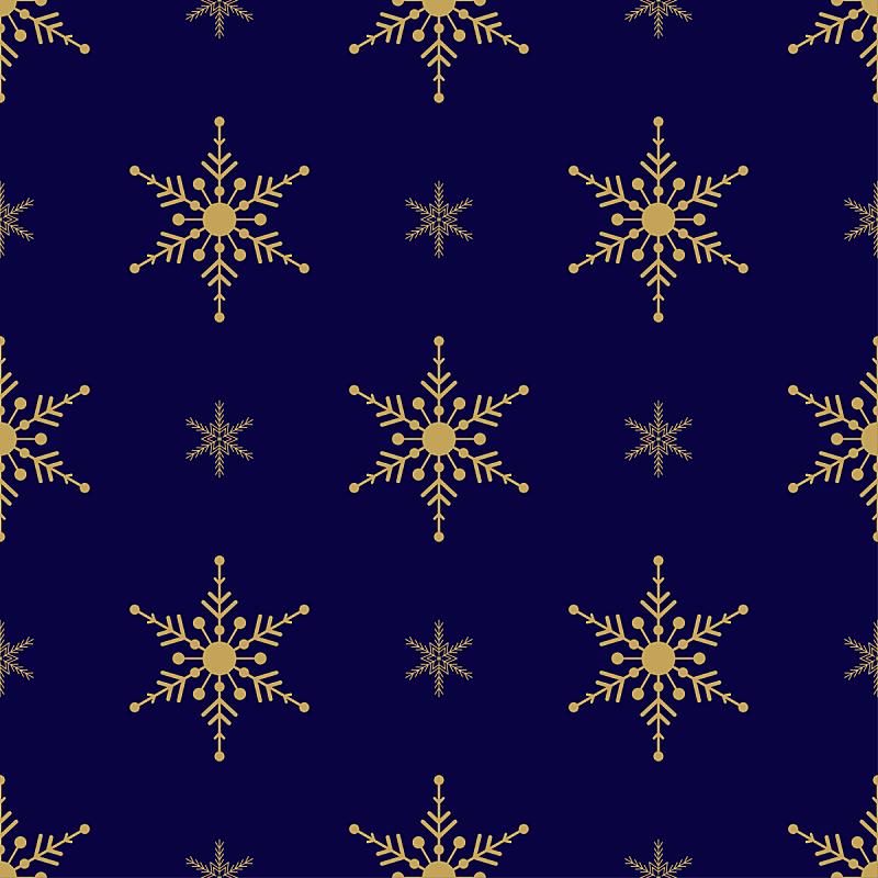 四方连续纹样,绘画插图,黄金,雪花,黑色,蓝色背景,矢量,传统,2020