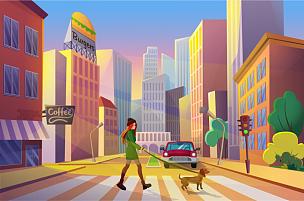 女人,矢量,城市,狗,绘画插图,公寓,空的,交通,黄昏,步行