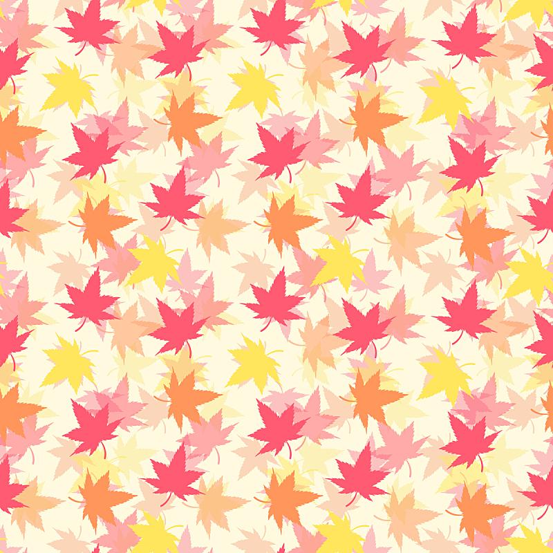 秋天,四方连续纹样,叶子,白色,黄色,红色,白色背景,橙色,图像,色彩鲜艳