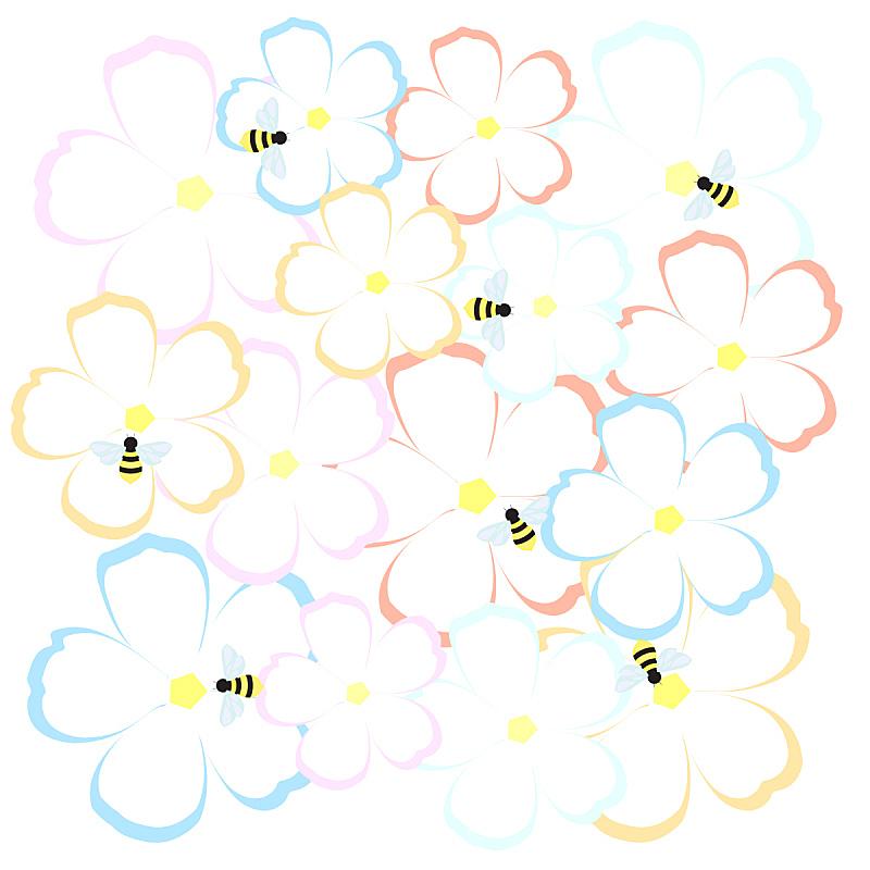 绘画插图,蜜蜂,自然,乱画,无人,夏天,背景分离,轮廓,野生植物,方形画幅
