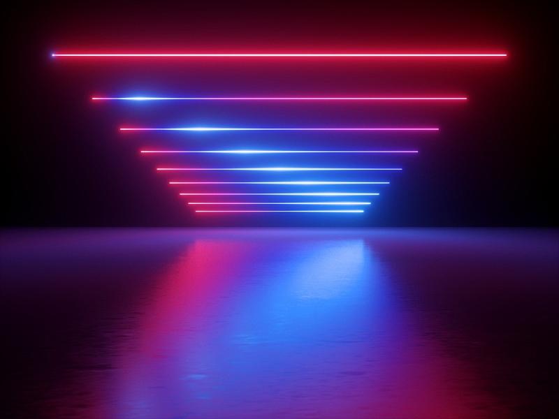 三维图形,条纹,红色,霓虹灯,激光,蓝色,抽象,透视图,反射,发光