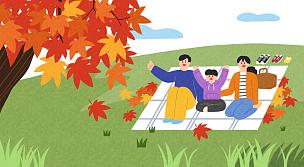 秋天,幸福,插画,时间,成年的,儿童,家庭,儿子,母亲,父亲