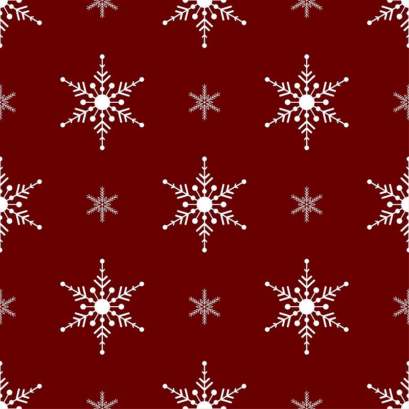 四方连续纹样,绘画插图,白色,雪花,红色背景,矢量,传统,寒冷,2020