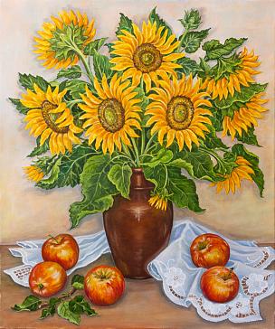 清新,苹果,向日葵,菜园,自然美,桌子,静物,花瓶,花