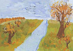 地形,秋天,绘画插图,儿童,注射