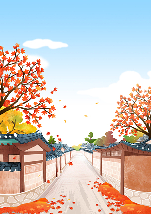 传统,风景,房屋,插画,韩屋,建筑,彩色铅笔,户外,秋天,黄色