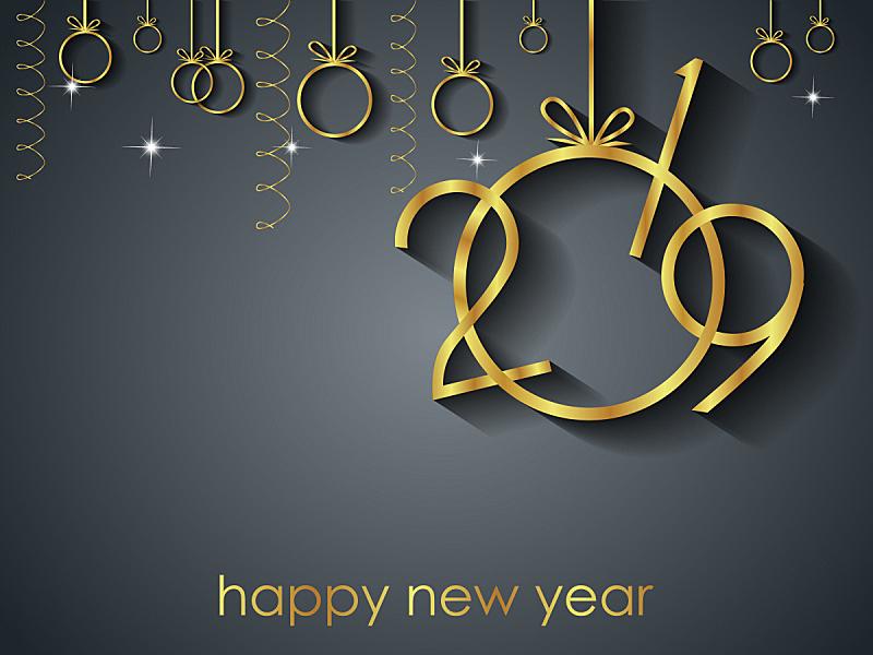 新年前夕,2019,背景,球,贺卡,新的,艺术,水平画幅,夜晚