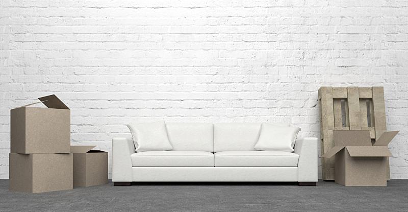 厚木板,贺卡,空的,背景分离,纸盒,沙发,板条箱,住宅内部,盒子,三维图形