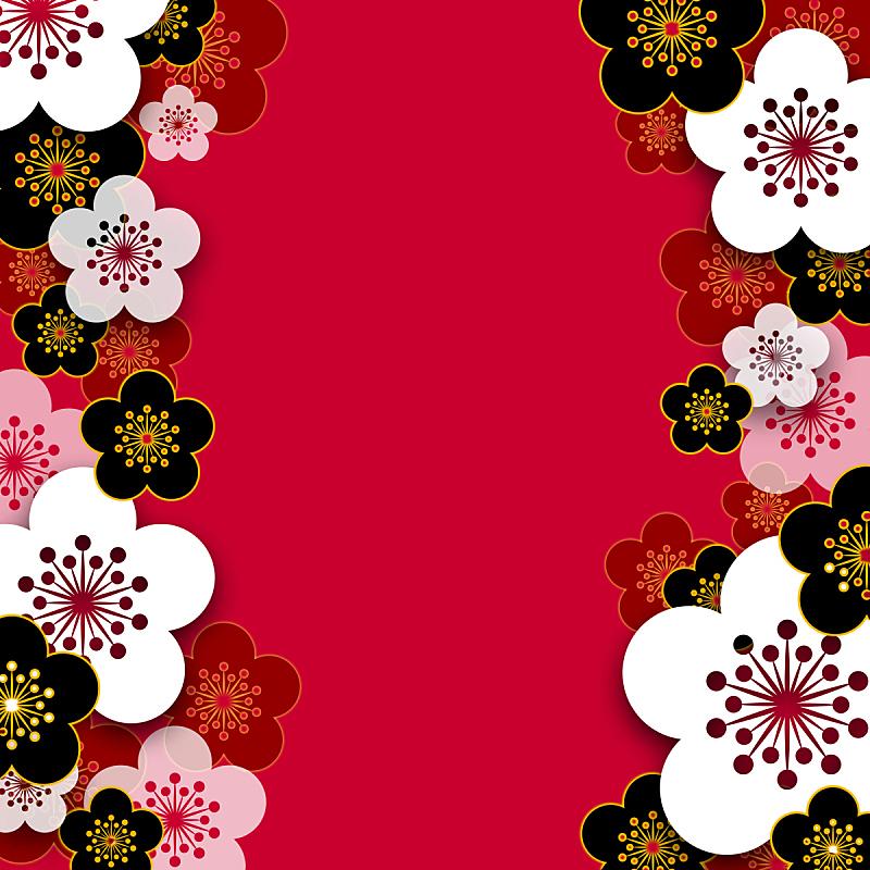 背景,梅花,新年,红色,季节,新年前夕,图像,梅子,无人,新年卡