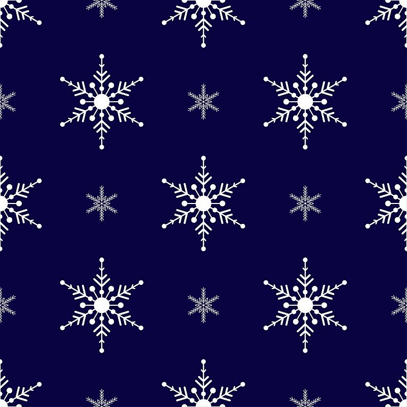 四方连续纹样,绘画插图,白色,雪花,黑色,蓝色背景,矢量,传统,2020