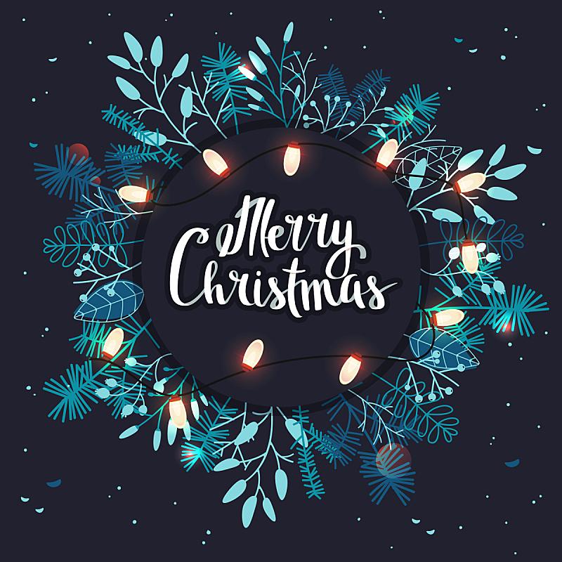 叶子,圣诞小彩灯,枝,圣诞卡,贺卡,边框,雪,无人,绘画插图